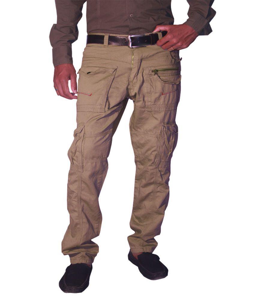 Madcaps Beige Compact Plain Twill Cotton Cargo Pant