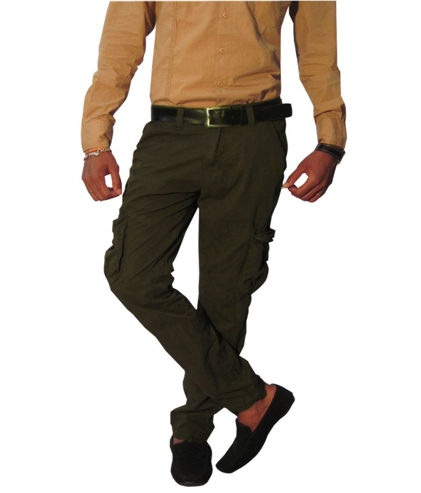 Madcaps Brown Compact Plain Twill Cotton Cargo Pant