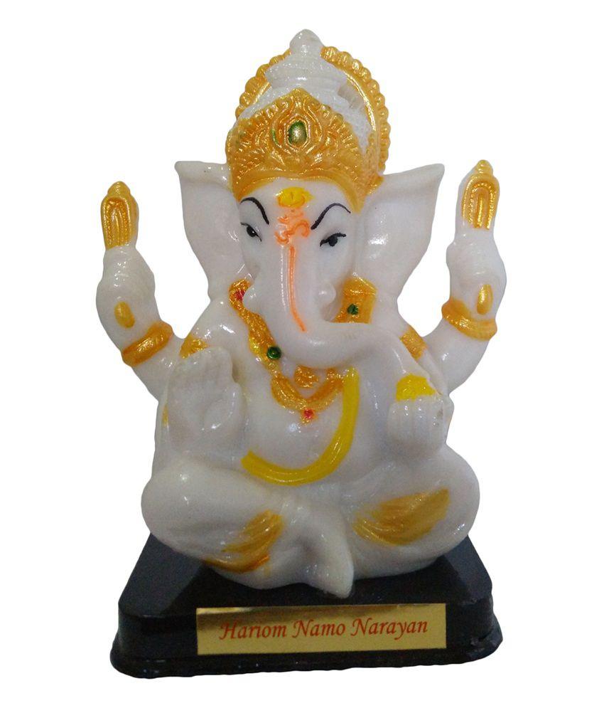 Vedic Deals Radium Statue Of White Ganesha Idol