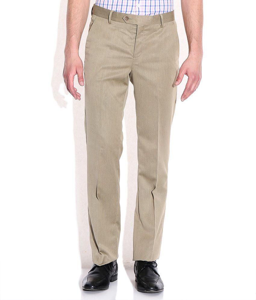 Excalibur Khaki Poly Viscose Formals Trouser