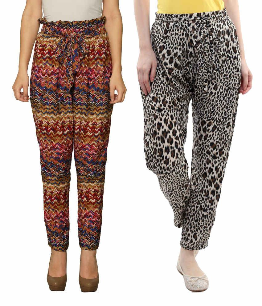 Miss Chase Red Poly Crepe Trousers Combo