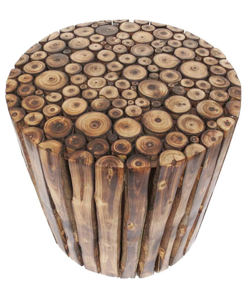 pindia fancy natural wood feel wooden round shaped utility stool chair table