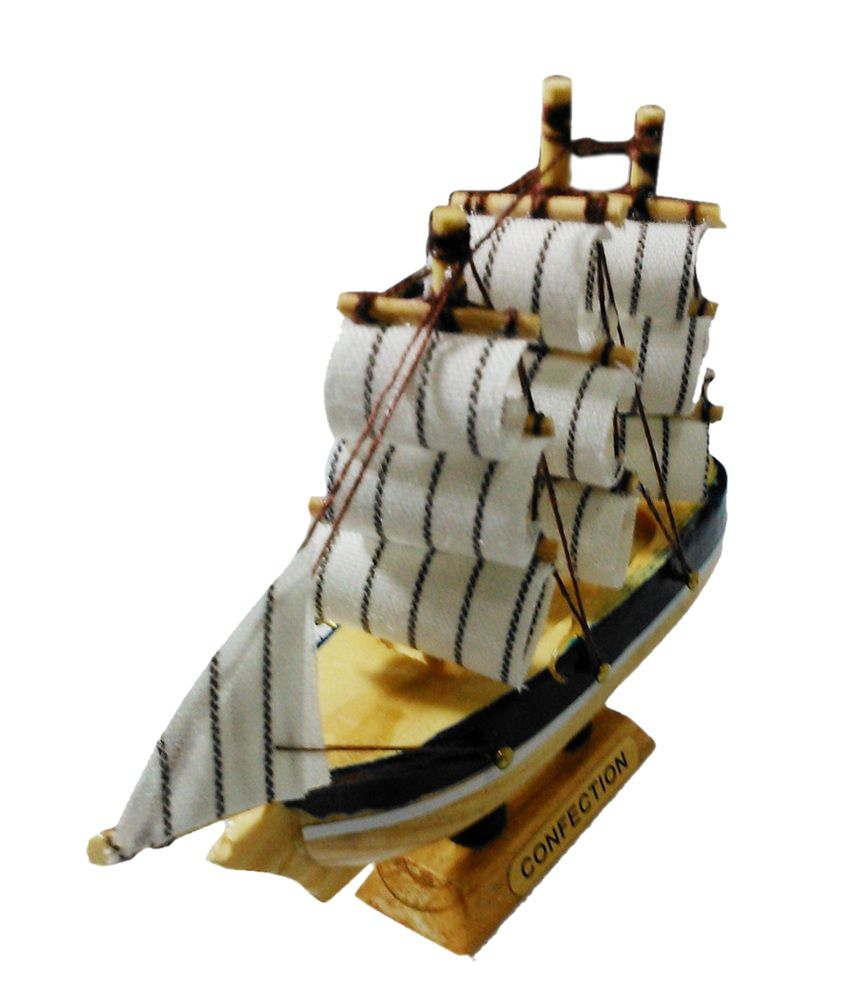 pindia fancy mini wooden pirates ship replica showpiece
