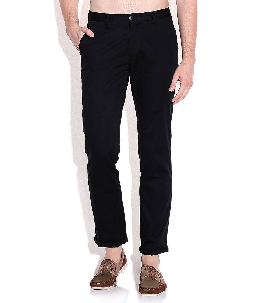 Ruggers Black Cotton Casuals Chinos
