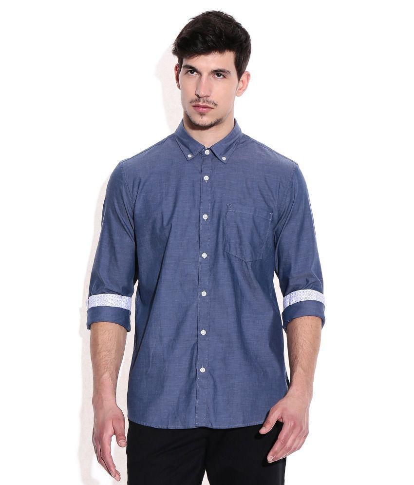 Ruggers Navy 100 Percent Cotton Solids Casuals Shirt