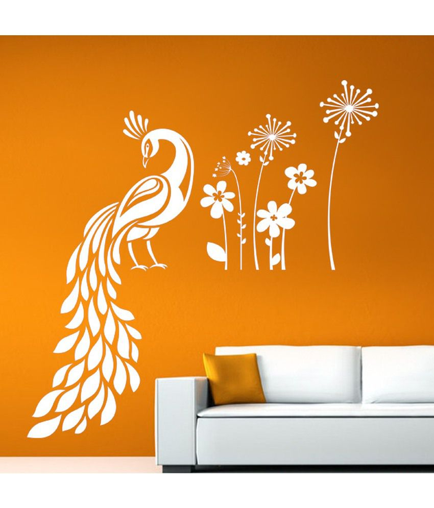 Hoopoe Decor Peacock Sitting In Garden Wall Stickers And ...