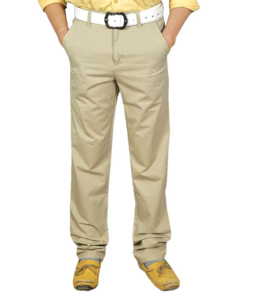 Josh Button Khaki Cotton Flat Style Casual Wear Trouser