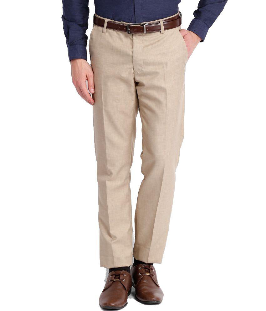 Black Coffee Beige Regular Fit Formal Trouser