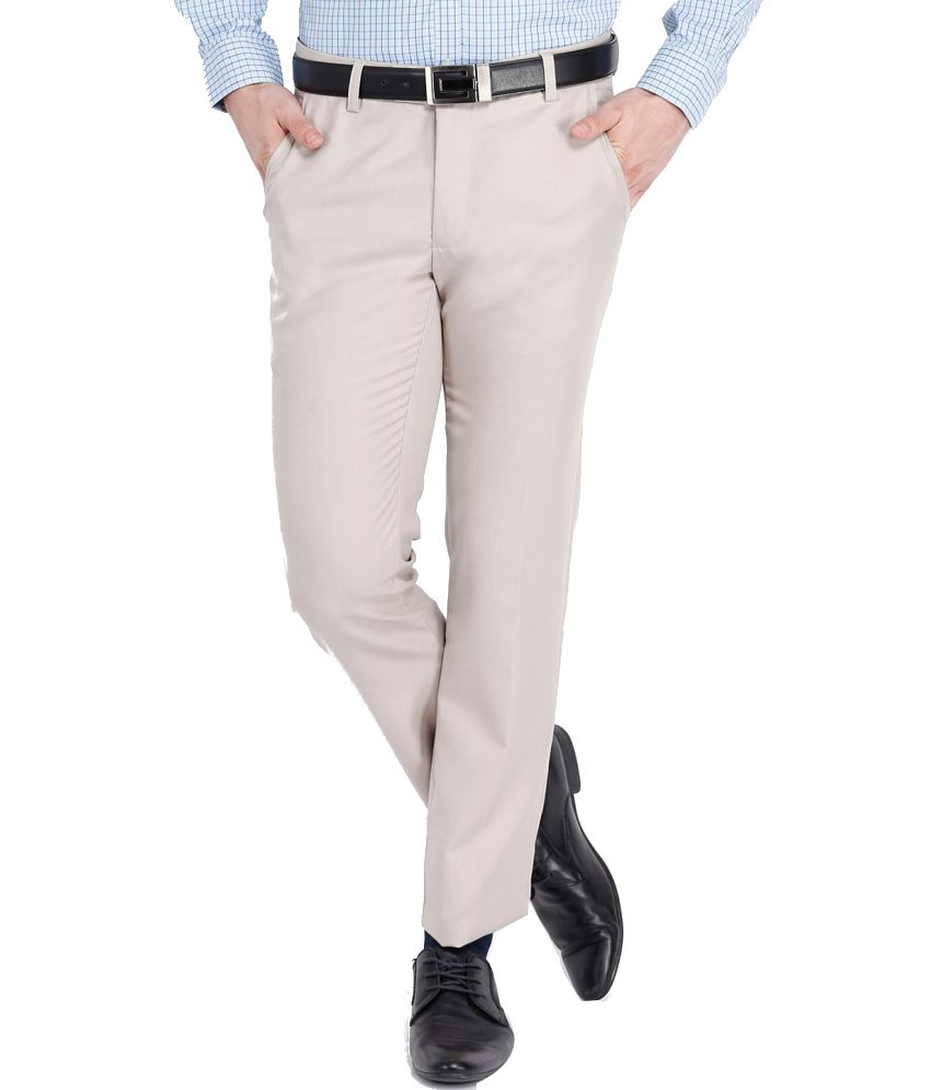 Black Coffee Beige Regular Fit Formal Trouser