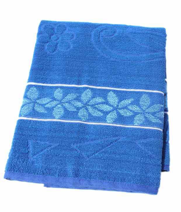 Mandhania Single Cotton Bath Towel Blue Best Price In