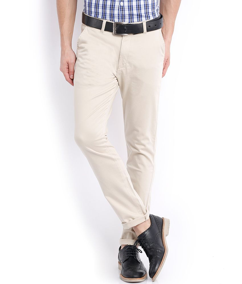 Mark Taylor White Cotton Lycra Casual Trouser
