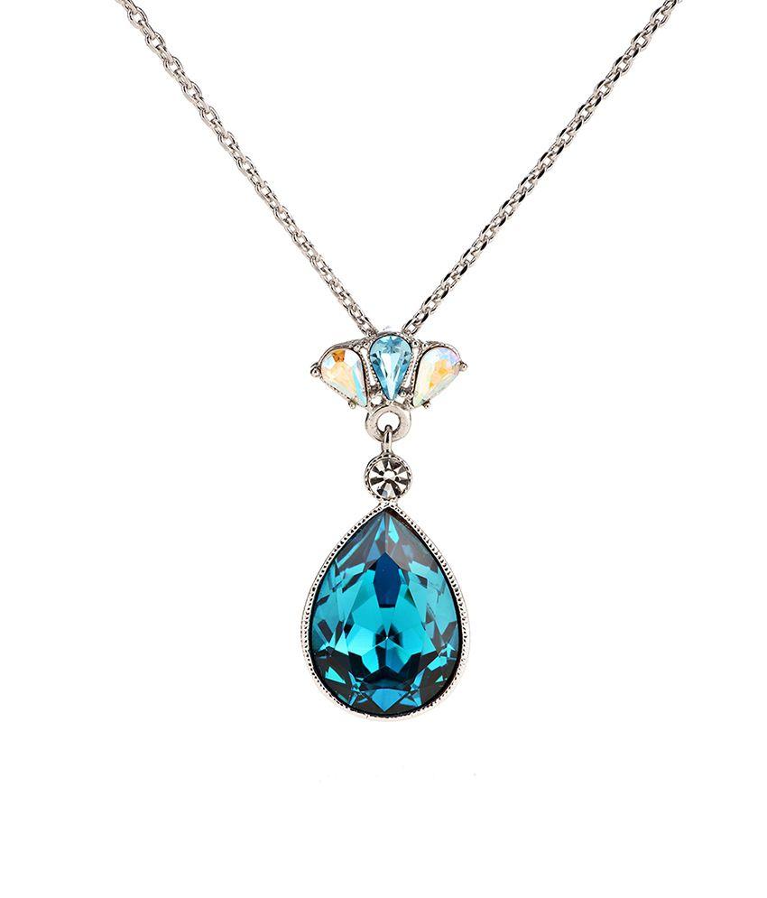 Rigant Stylish Blue Stone Pendant Set