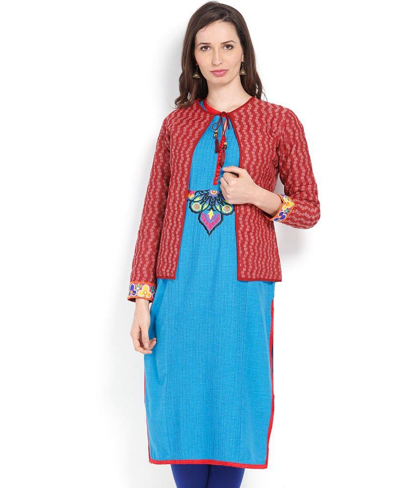 Vishudh Blue And Red Cotton Kurti