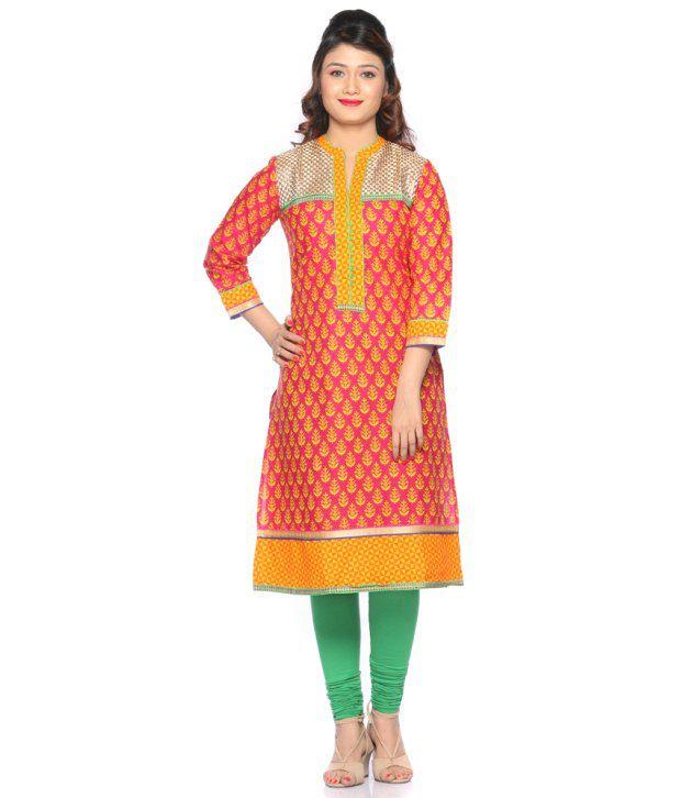 Chaudhari Lifestyle Pvt Ltd. Orange Printed Cotton Kurti