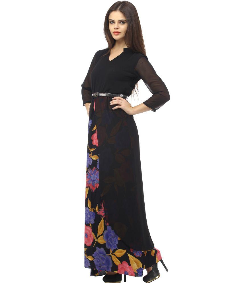 6fe5580b31 Cottinfab Black Rayon Maxi Dress - Buy Cottinfab Black Rayon Maxi ...