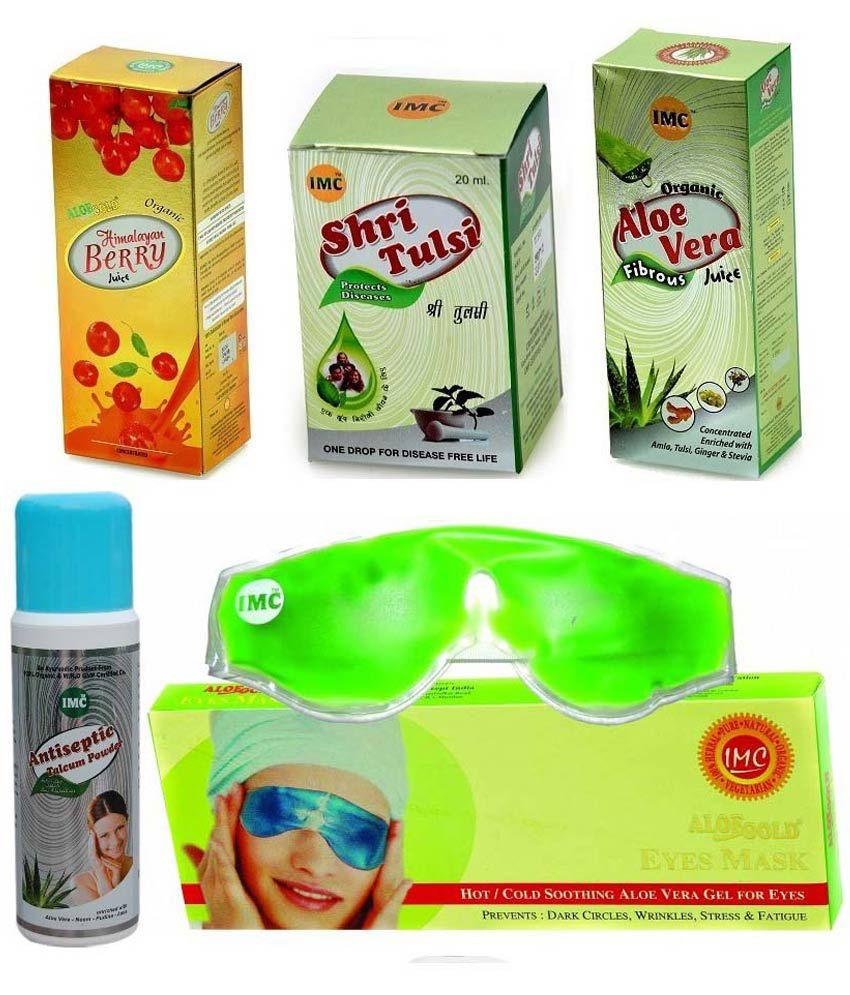 Imc Combo Of Himalayan Berry Juice Aloevera Eye Mask Shri Powder Aye Tulsi And Anti Septic Herbal Talcum