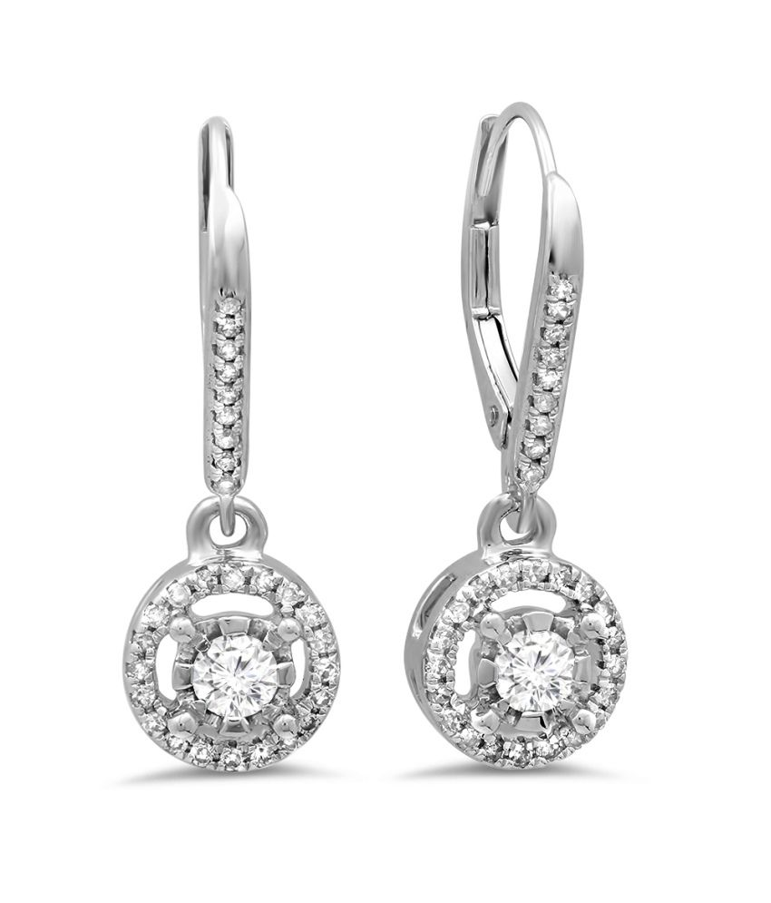 Kavya-Jewels Round Diamond 14K White Gold Earrings
