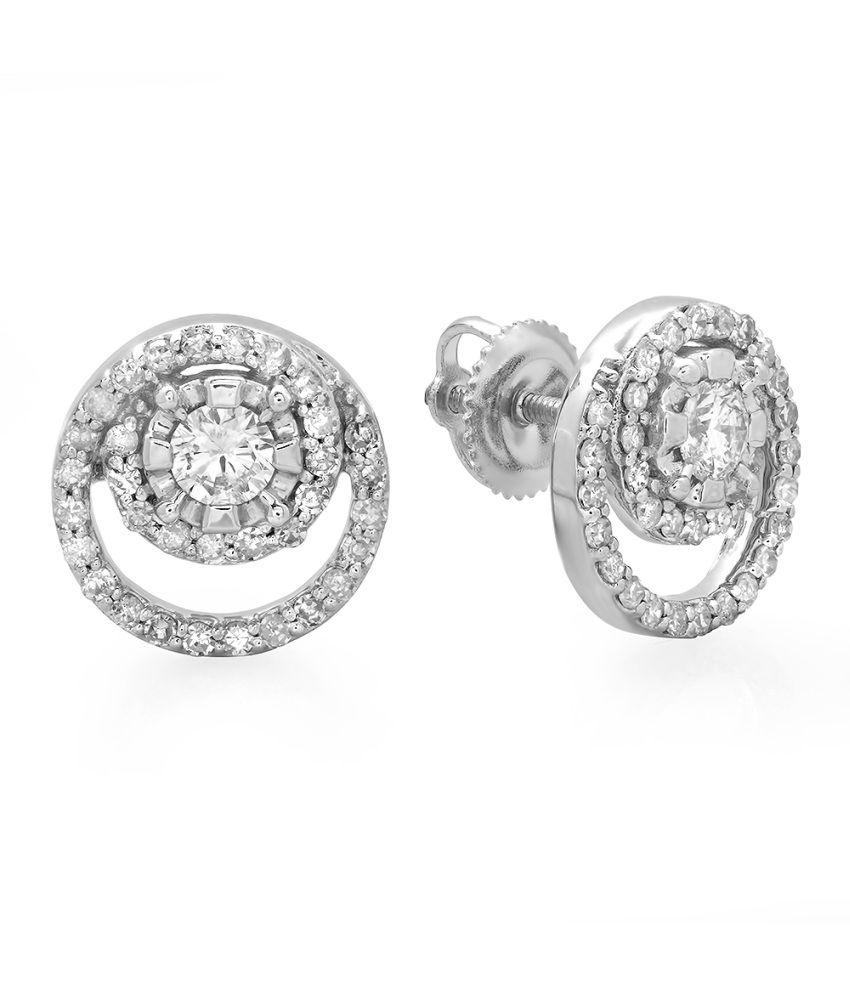Kavya-Jewels Round Diamond 14K White Gold Earrings