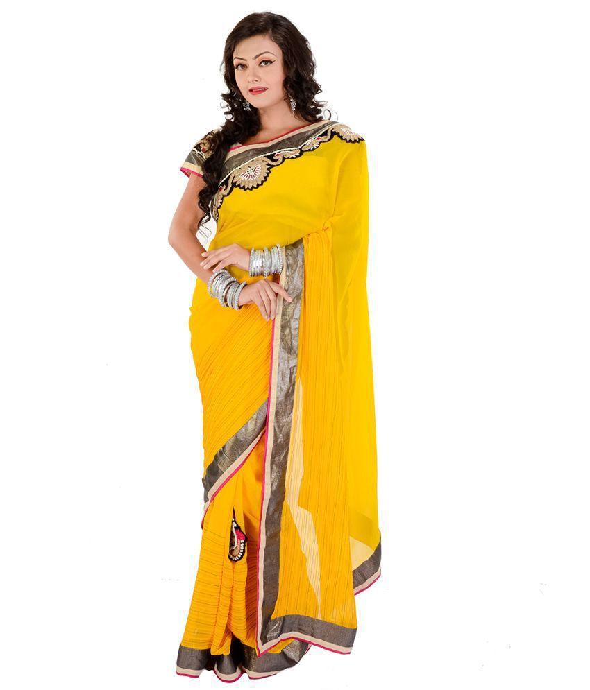Rangoili Yellow Georgette Saree