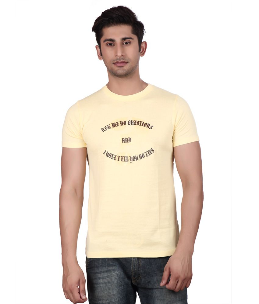 Big Mouth Yellow Cotton Round Neck T-shirt