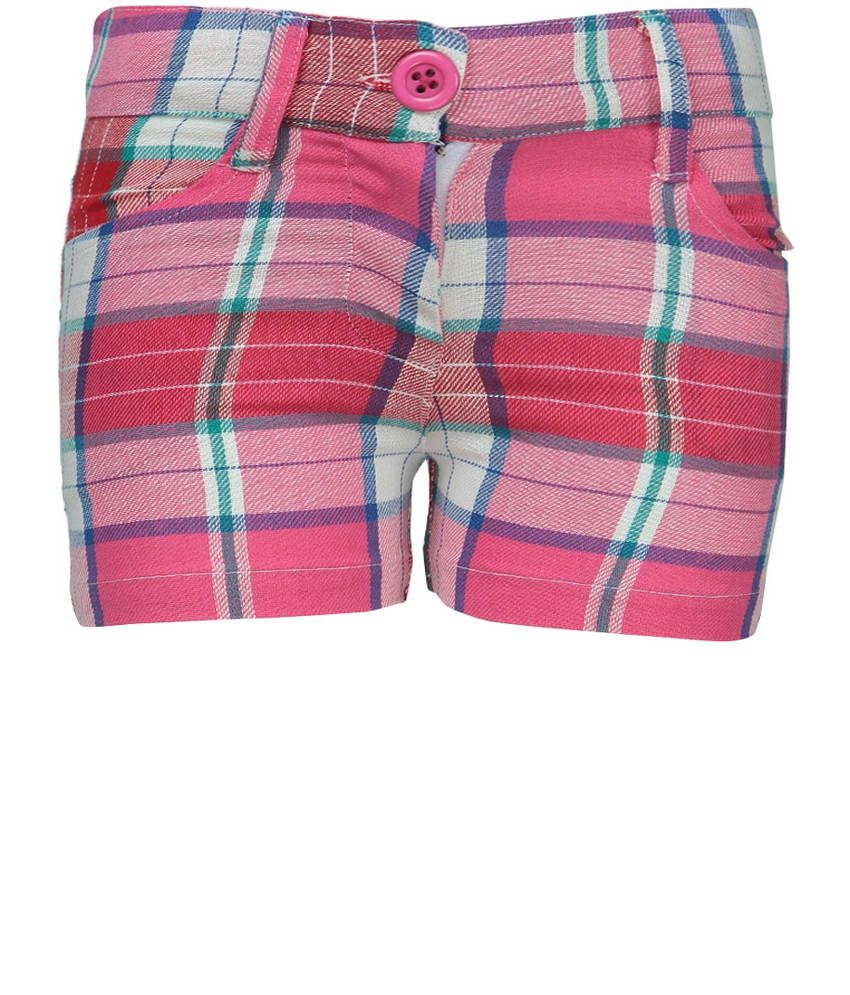 Dreamszone Pink & Blue Checks Shorts For Kids
