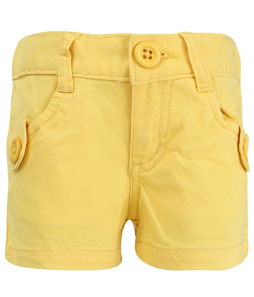 Dreamszone Yellow Solids Shorts For Kids