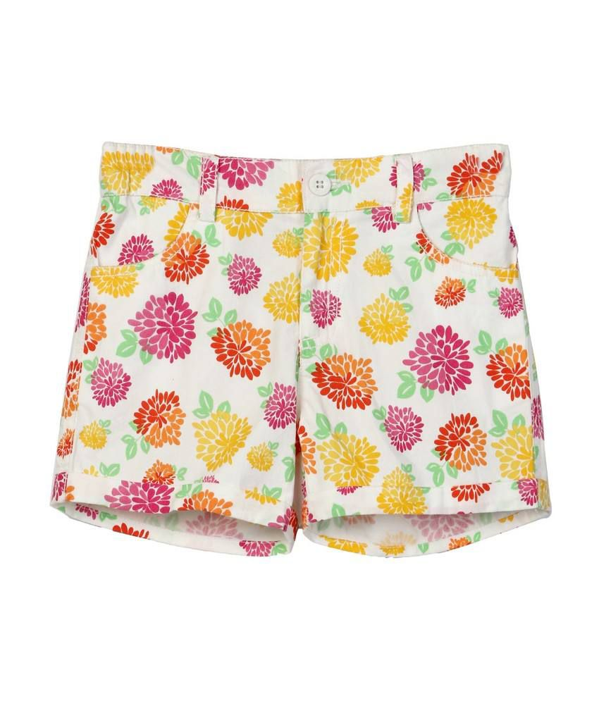 Floral Printed Short White Print