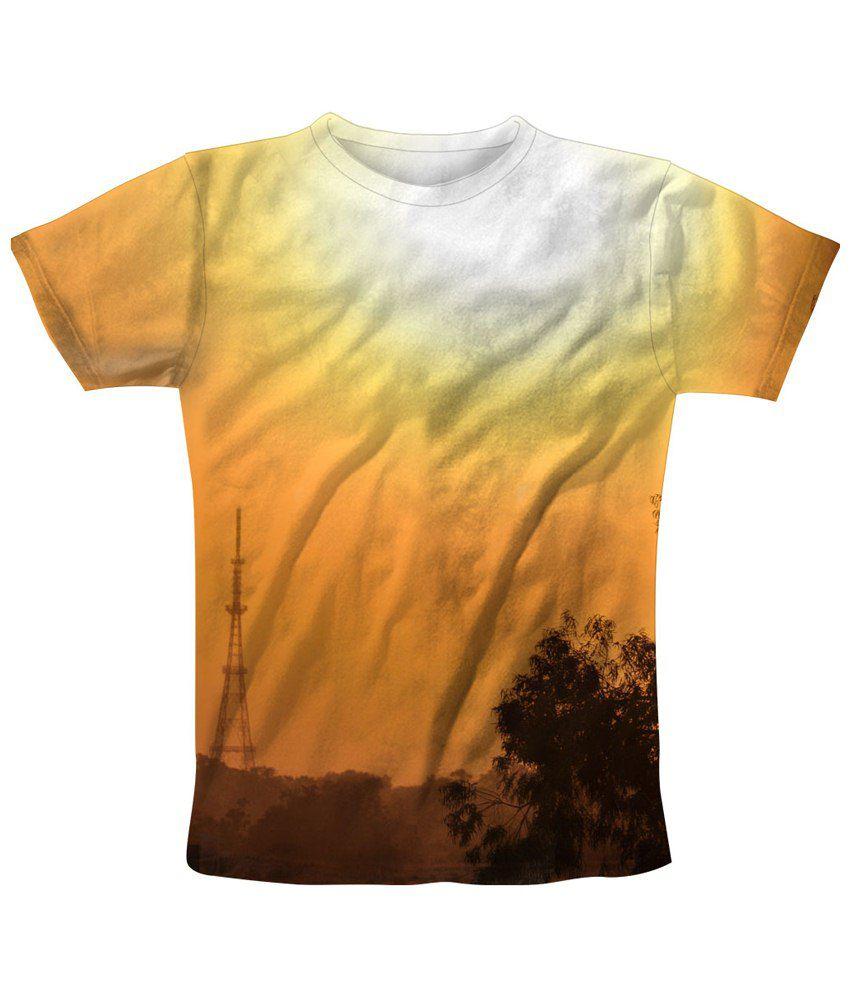 Freecultr Express Orange & White Tower Printed T Shirt