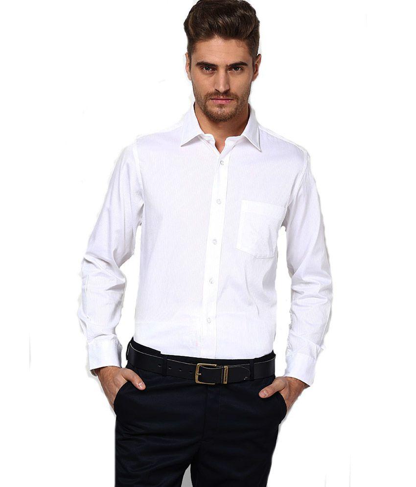 Pierre Cardin White Cotton Blend Regular Full Shirt Buy Pierre