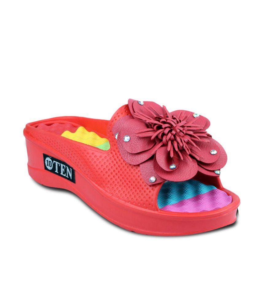 Ten Red Floral Red Flipflops For Women