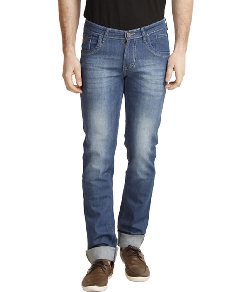 Cantabil Blue Cotton Blend Smart Ultra Narrow Fit Jeans