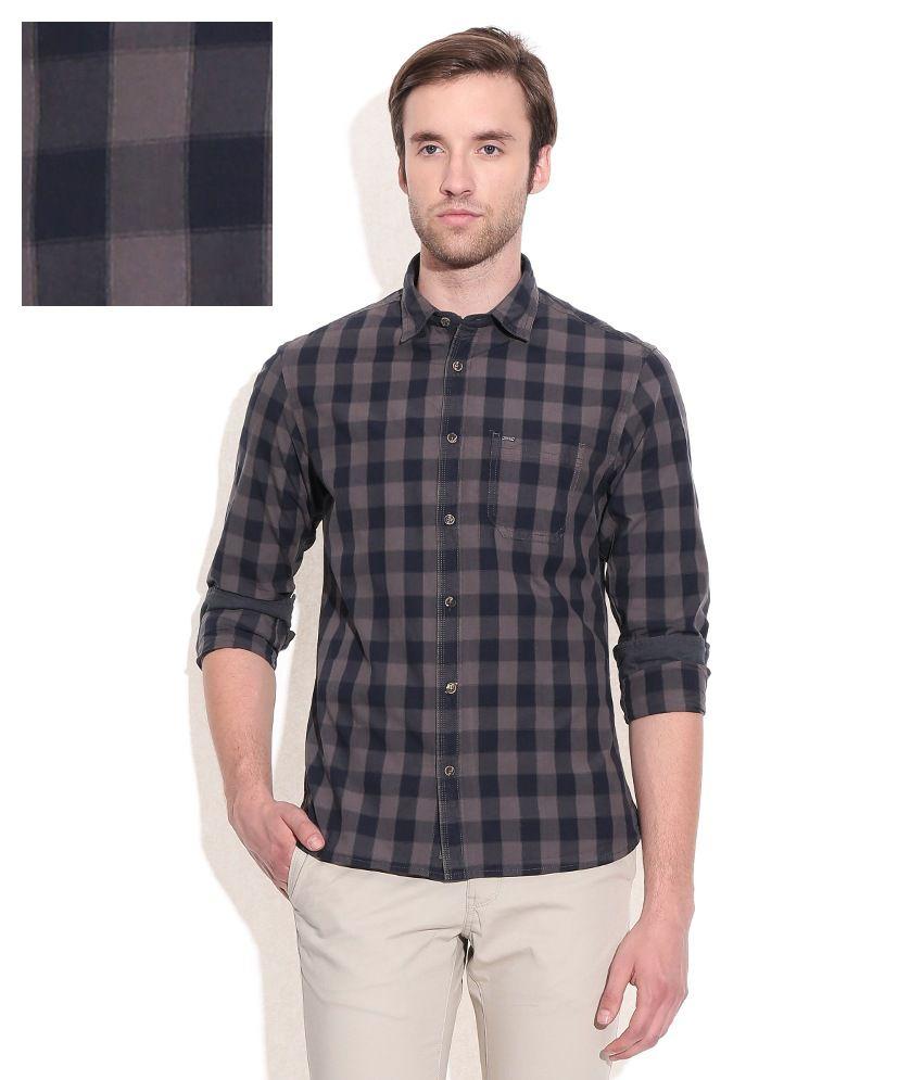 Indian Terrain Gray Slim Fit Casual Shirt