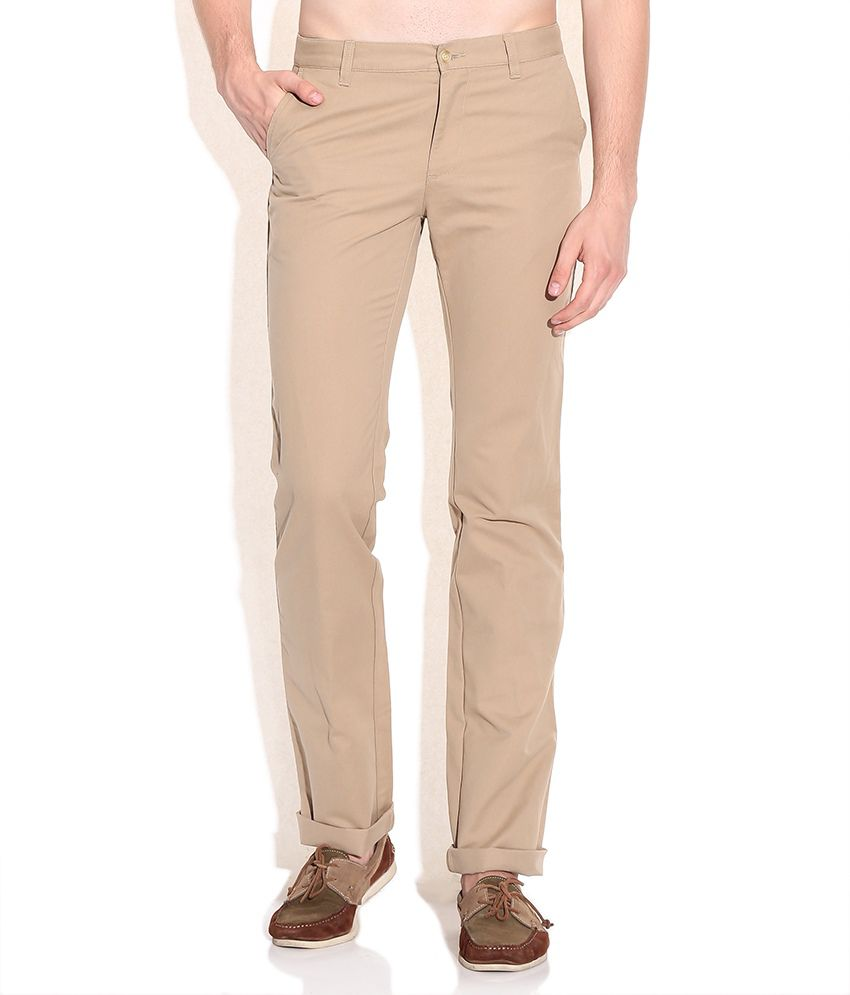 Indian Terrain Khaki Kansas Fit Casual Trousers