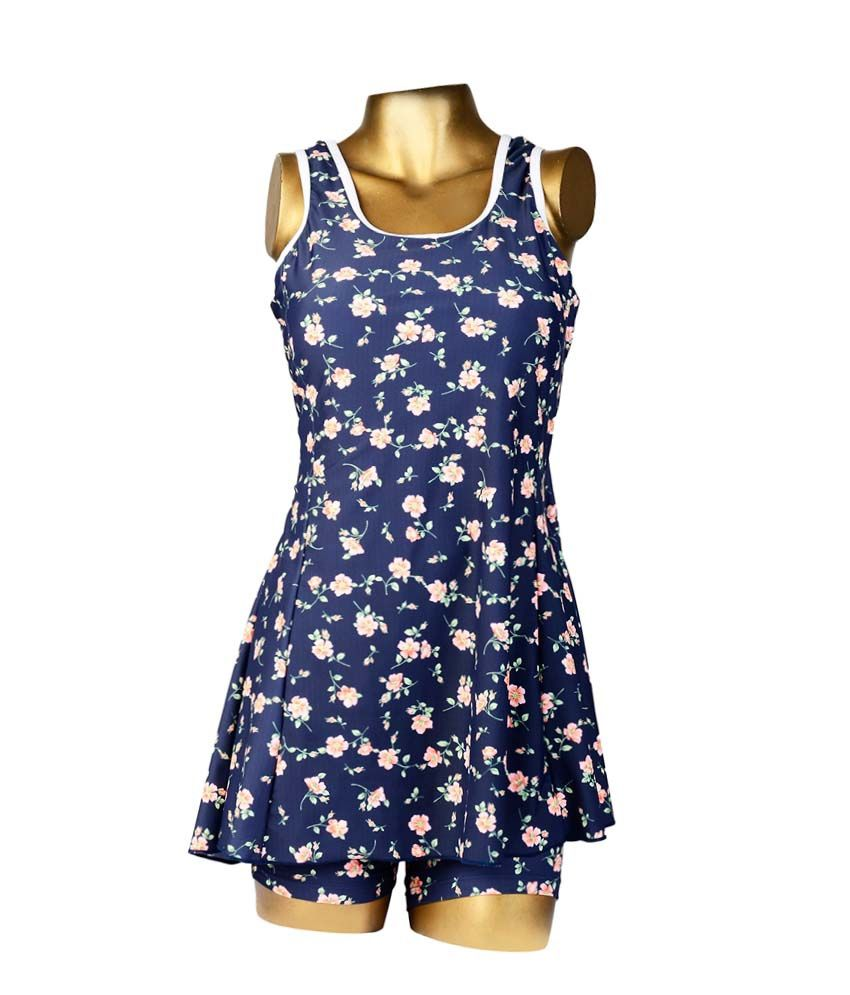 Indraprastha Navy Blue With Printed Flowers Swimsuit/ Swimming Costume