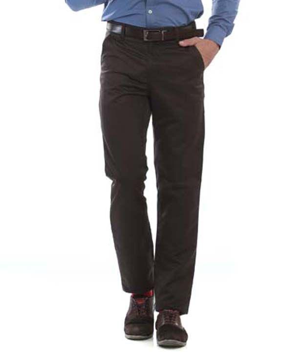 Jogur Brown Cotton Blend Chinos for Men's