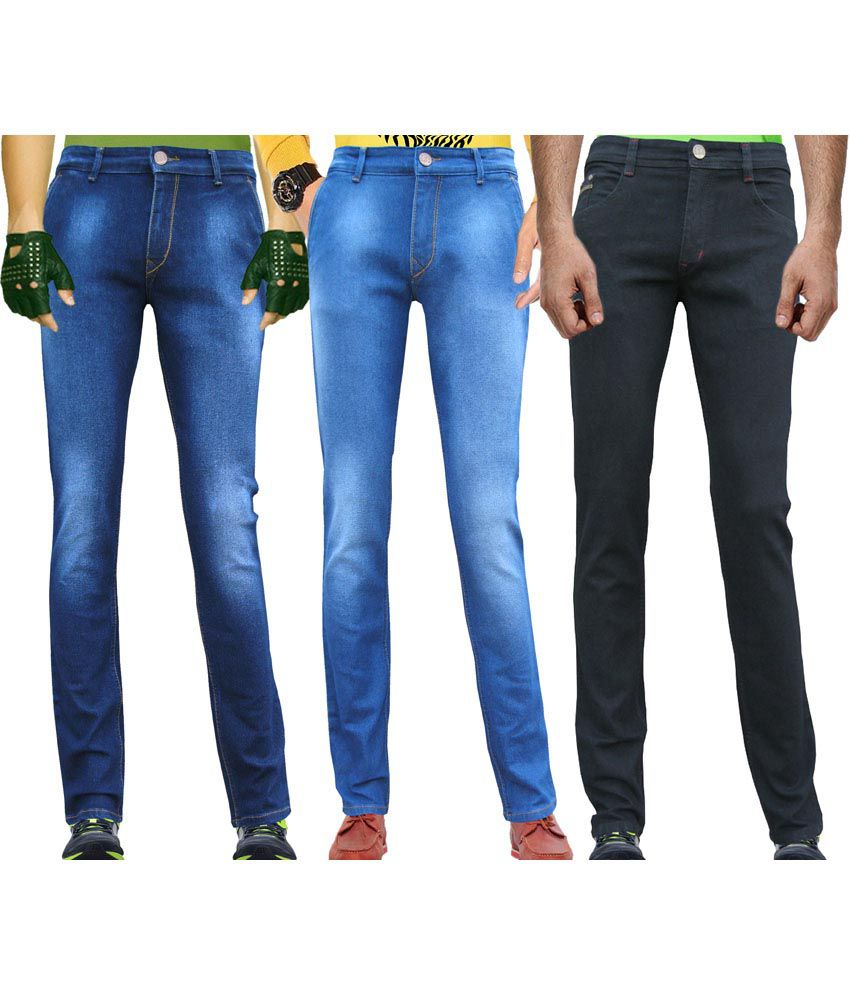 WP Multicolour Stretchable Slim Fit Jeans - Combo of 3