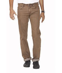 Flags Khaki Cotton Blend Regular Fit Jeans