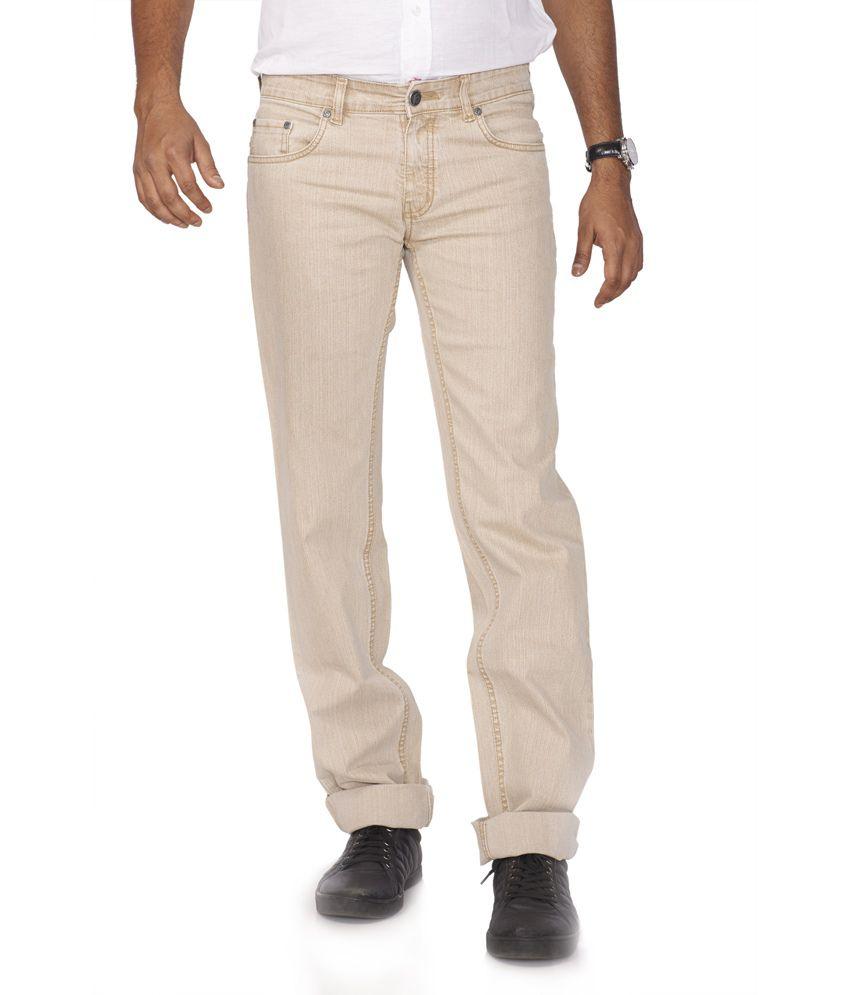 Flags Beige Cotton Blend Regular Fit Jeans