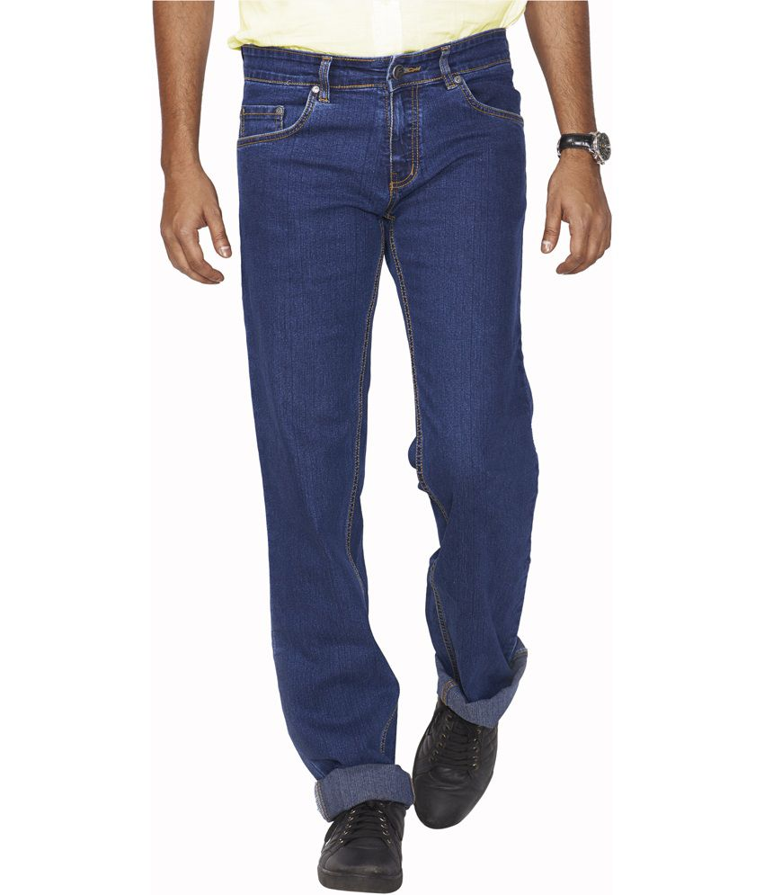 Flags Blue Cotton Blend Regular Fit Jeans
