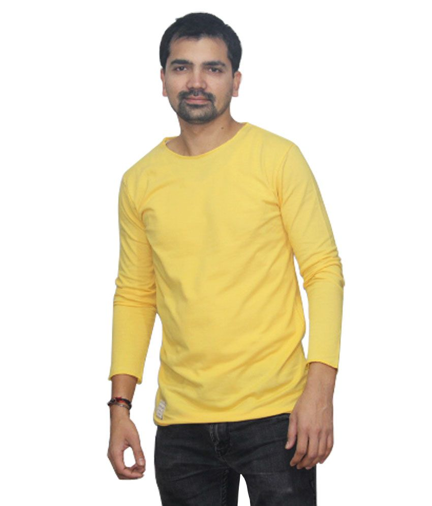 Almighty Systems Yellow Half Sleeve Cotton T-Shirt