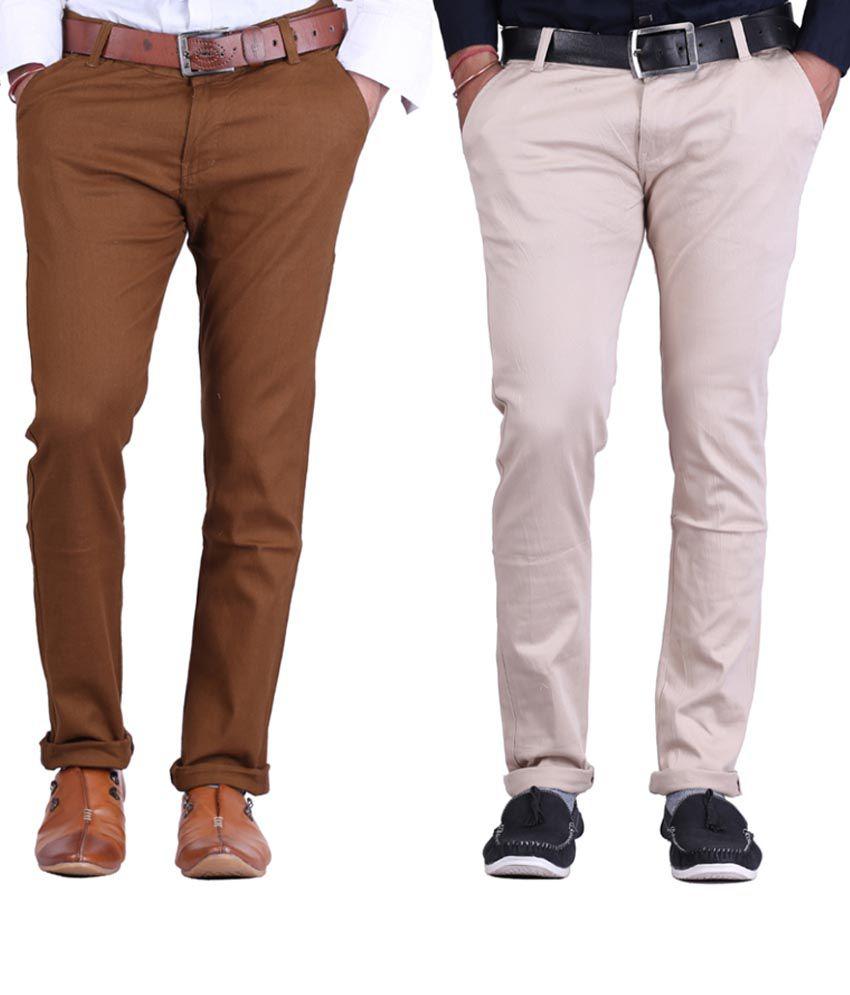 Haltung Lightbrown & Lightgrey  Cotton Blend Trousers