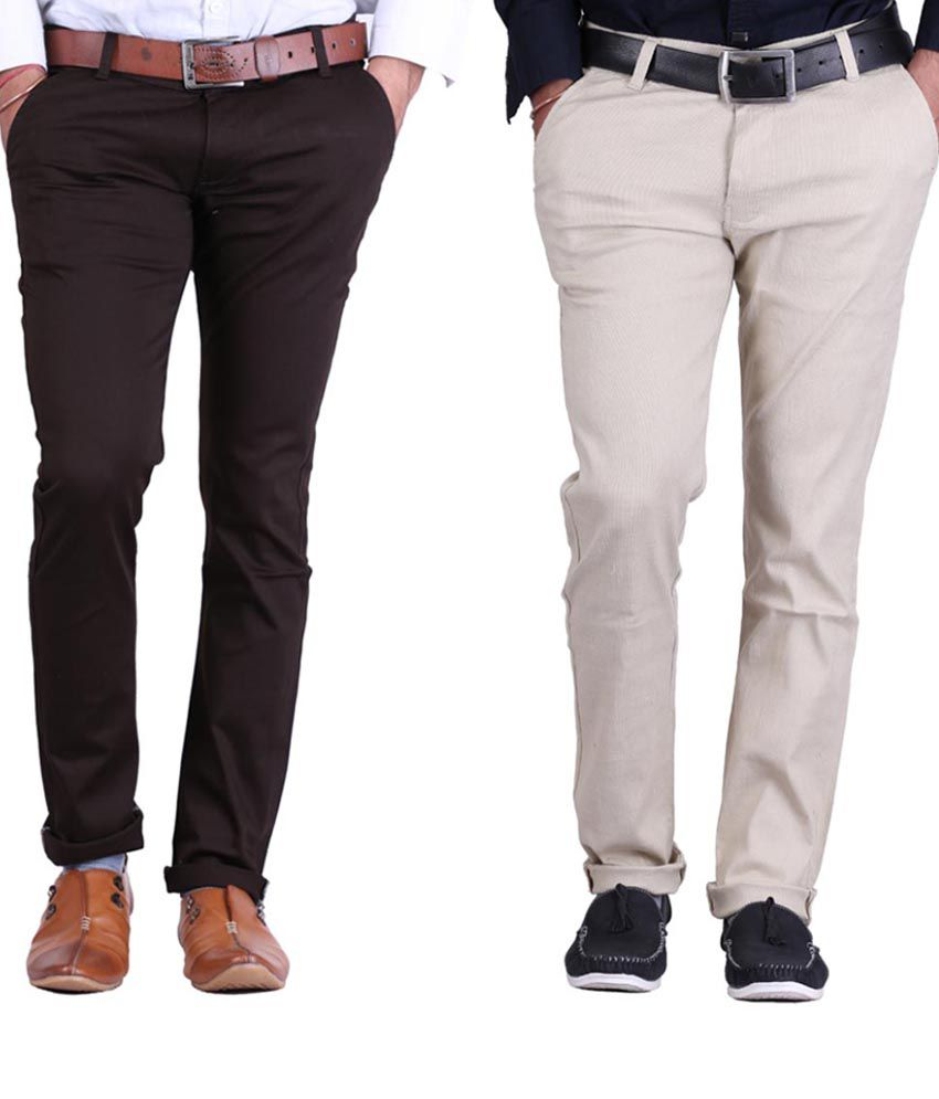 Haltung Brown & Fawn  Cotton Blend Trousers