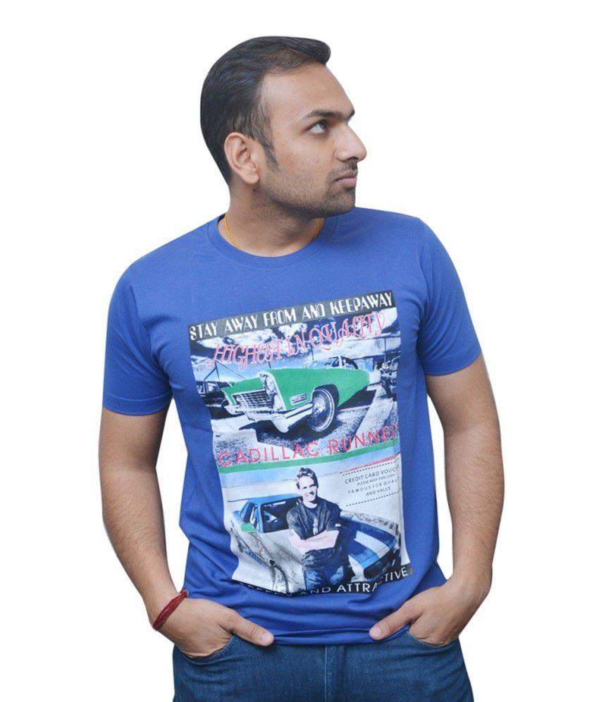 Naysa Blue Cotton Blend Round Neck T-Shirt