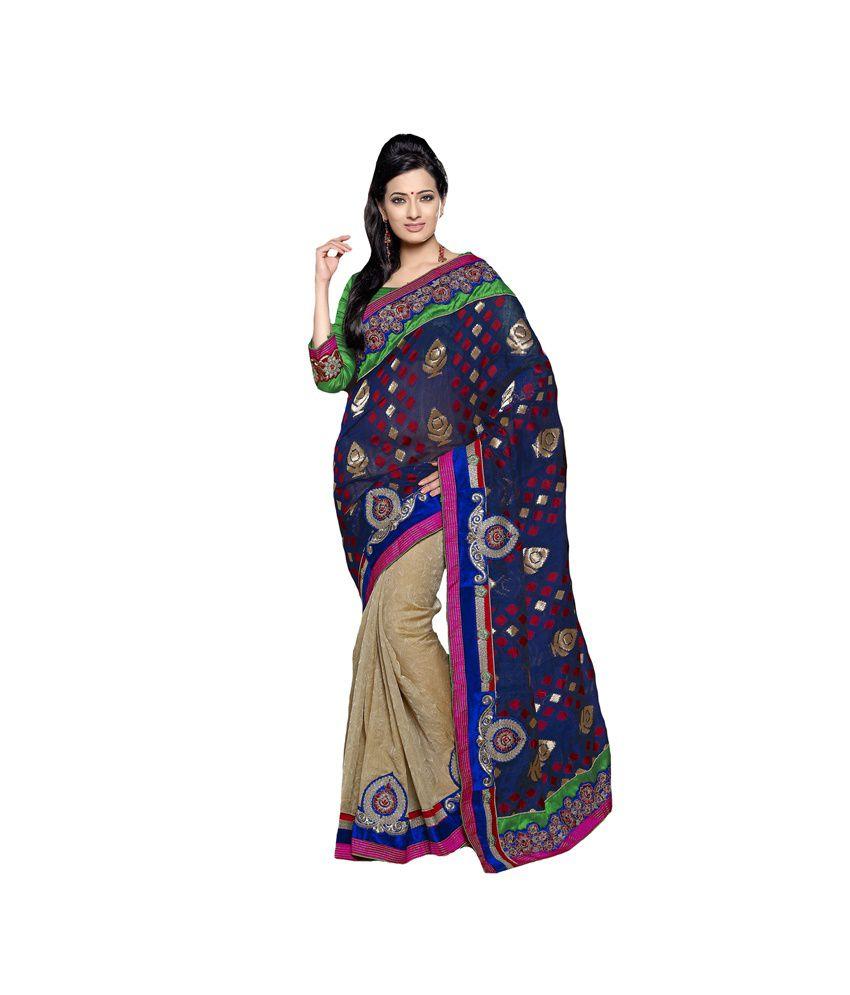 Surbhi Collection Beige Faux Georgette Saree