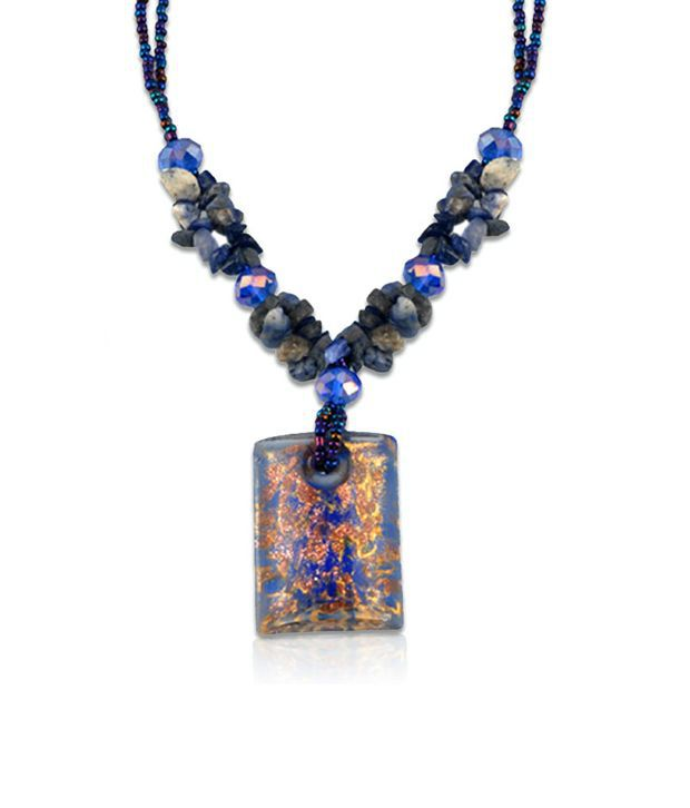 Swanvi Multicolour Contemporary Alloy Antique Dailywear Dream Blue Necklace