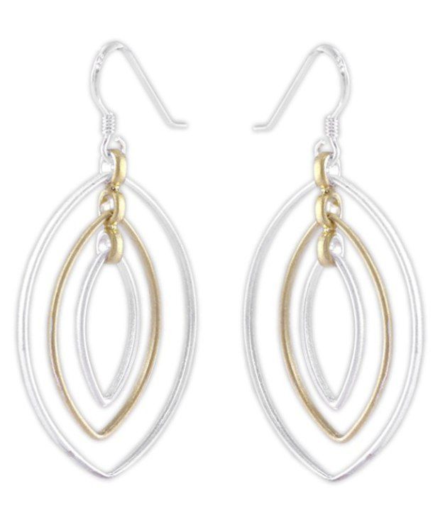 925 Silver Pair Of Sterling Silver Dangler Earrings With Marquise Shaped