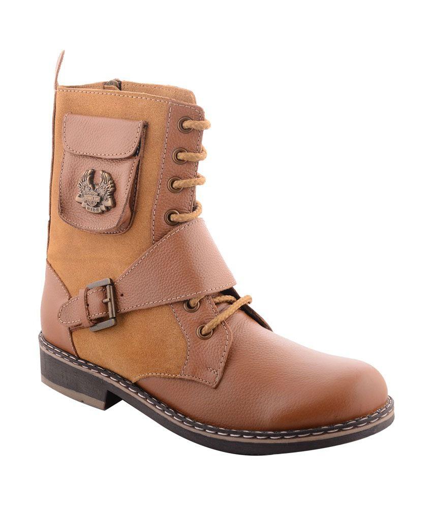 99 Moves Men's Suede & Mild Leather Tan Boots