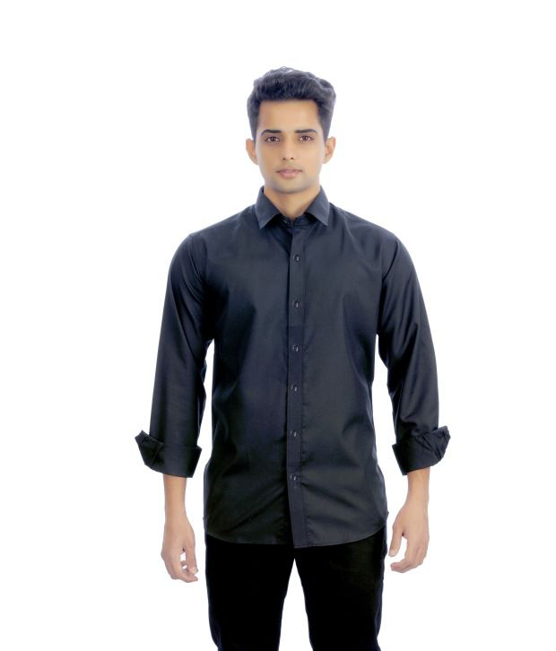 Unique for men black cotton blend casual full shirt buy for Unusual shirts for men