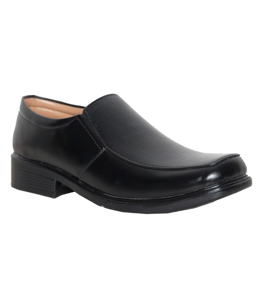 Leeport Black Synthetic Leather Office Wear Formal Shoes