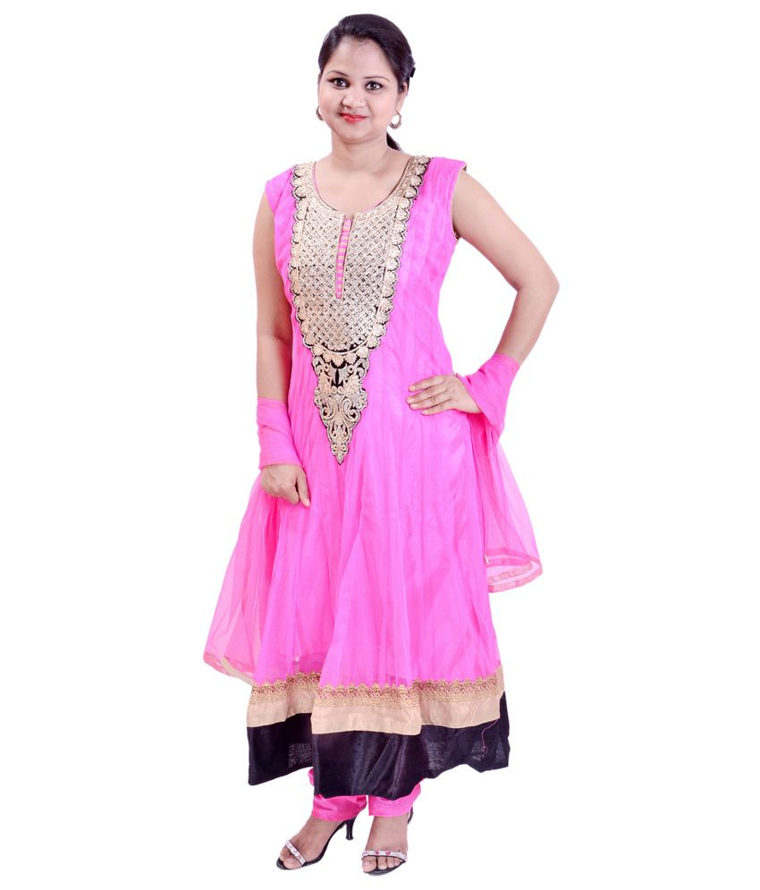 Krazzy Collection Pink Embroidered Net Anarkali Salwar Suit
